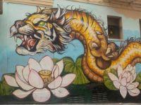 Lotus Tiger Dragon Mural
