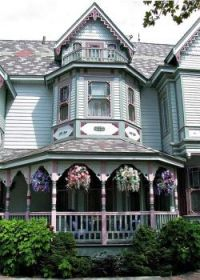 Victorian with hanging plants . . . . .