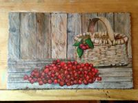 painting on slate - cherries & basket