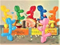 Balloon Dog Ham Feast With Bubbles and Desserts