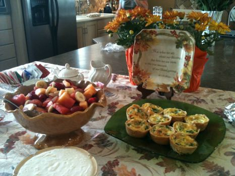 Oh, boy!  Little Quiches and a Bowl of Fruit!