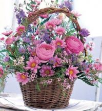 Basket of pink flowers from Coffee time with Friends FB