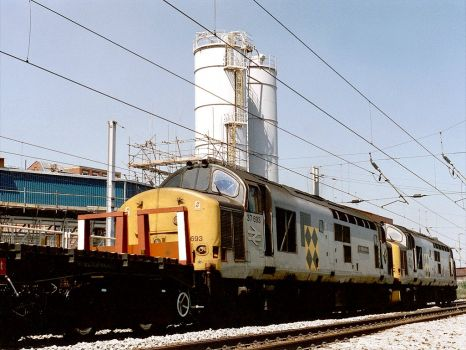 Class 37694 & 37693 at Warrington Bank Quay - 24th Jul 1990