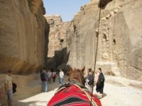 Through the chasm towards the Treasury Building in Petra