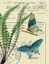 Botanical Blue Butterflies and fern