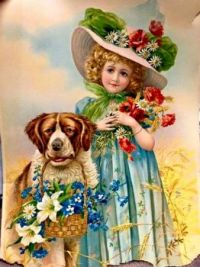 Vintage Little Girl and Dog