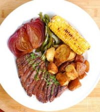 Skirt Steak, Balsamic Red Onions, Roasted Potatoes and Corn