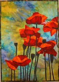 Art Quilt Lenore Crawford Red Poppies