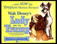 Walt Disney's LADY AND THE TRAMP  1955 MOVIE POSTER