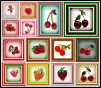 A Collection of Strawberry and Cherry Brooches