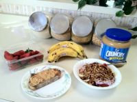 mmmmm!  homemade granola with fruit and peanut butter toast!