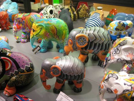 Elephants at airport in Amsterdam