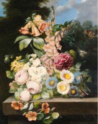Emma Andrée Félicité Desportes De La Fosse (French, 1810–1869), Still Life with Flowers (1844)