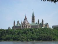 Canadian Parliament looking from Quebec