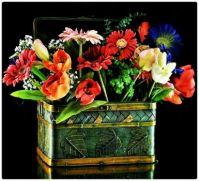Assorted Flowers in a Pretty Tin Pot