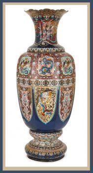 Late 19th Century Japanese Cloisonne Enamel 'Dragon' Vase Meiji period