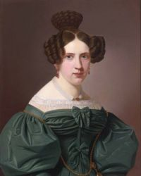 Emilie Feustell, wearing a green lace lined dress, by Christian Tunica 19th century
