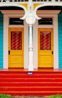 Colorful Shotgun House Neighbors....New Orleans, Louisiana...