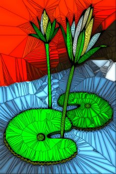 STAINED GLASS FLOWER B48
