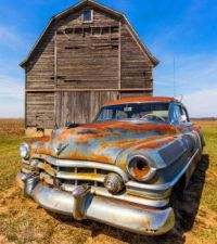 Old barn and an old car