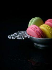 Macarons in a metal tray