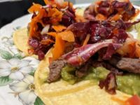 Steak tacos with cayenne cabbage slaw