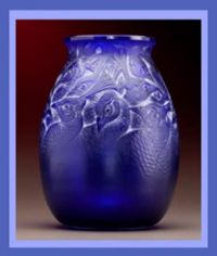 R. LALIQUE PEACOCK BLUE BORROMEE VASE