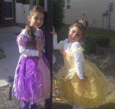 Rapunzel and Belle (My granddaughters)