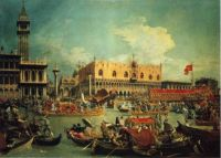 """The Bucintgoroby by the Molo on Ascension Day"" 1729-Canaletto"
