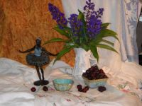 Ballerina with flowers and cherries