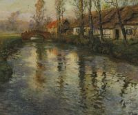 "Frits Thaulow, ""Cottages Along a River, Normandy"""