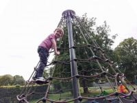 Piggly on the Bog Boys climbing frame!