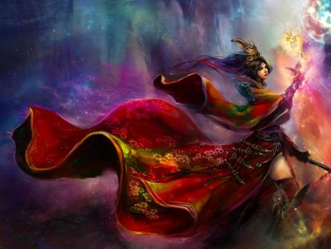 Lady In Red - Sorceress in Red Cloak