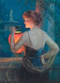 'Young Woman with Lantern' by Gene Pressler (1921)