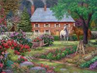 Sweet garden cottages and pretty horses !