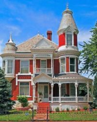 Red and white Victorian Mansion