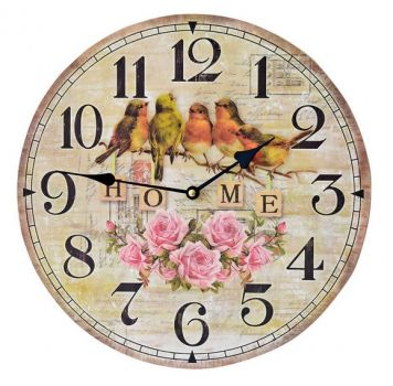 Birds and Roses Wall Clock