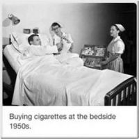 Buying cigaretts at the bedside 1950's