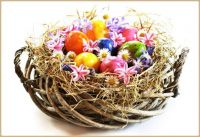 Delightful Easter Basket with Eggs and Flowers