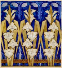 Decoration design with lilies and grasshoppers, 1896, Augusto Giacometti (1877-1947)