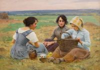 Charles Sprague Pearce (American, 1851–1914), Lunch Break in the Fields: Auvers sur Oise