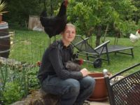 2 of my chickens and me