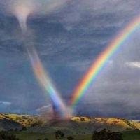 Rainbow in a tornado