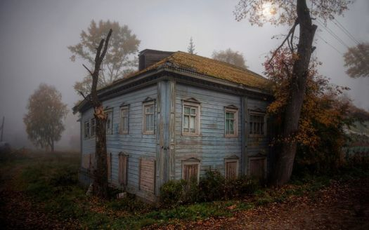 Old house in the fog