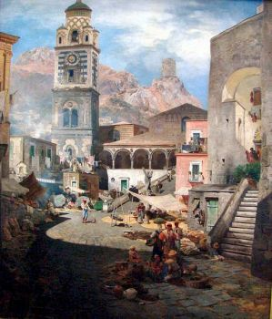 Marketplace of Amalfi, 1876 by Oswald Achenbach