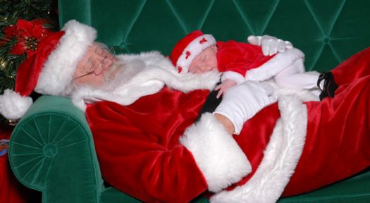 napping santa and baby