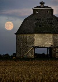 Moon and Old  Barn