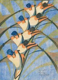 Cyril E.Power - The Eight (linoleum cut) - 1930