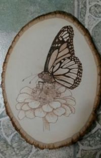 Woodburned butterfly