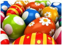 CGI Brightly Decorated Easter Eggs